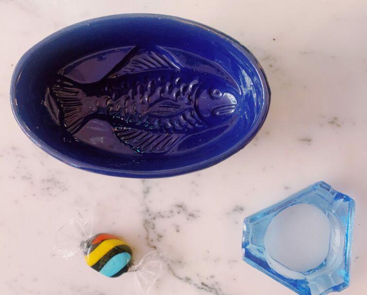 Håndlavet unika fiskeskål // Blå