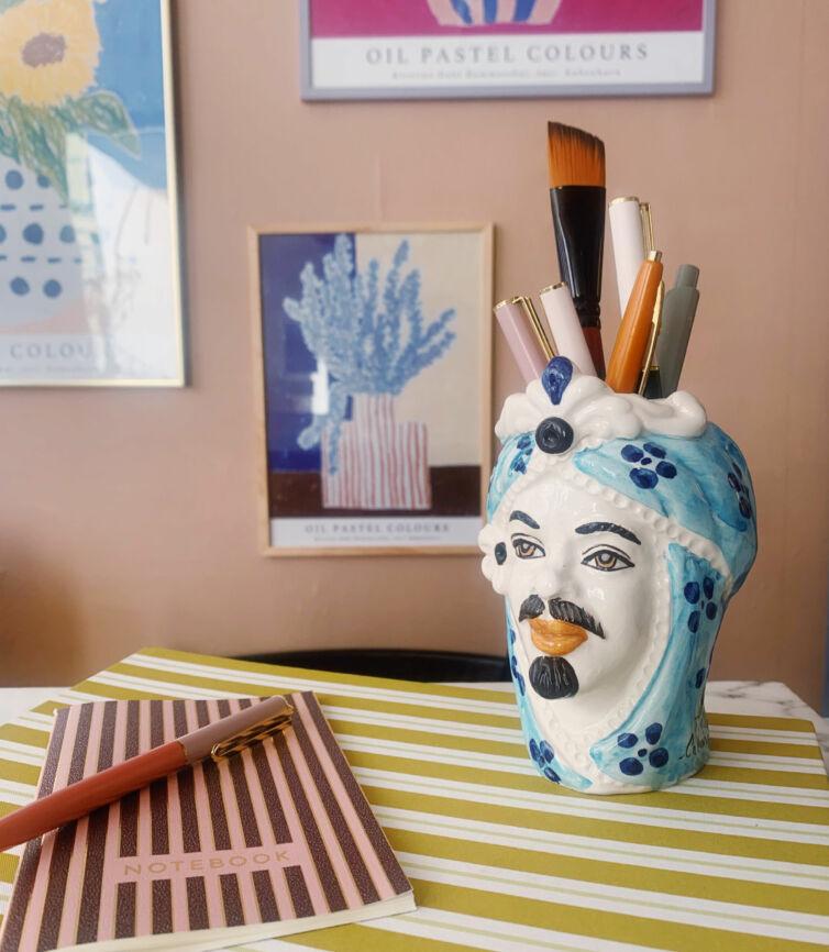 Mini Donna hovedvase ~ Prikket blå