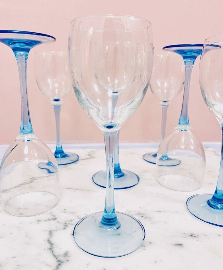 Franske vinglas // Blå stilk