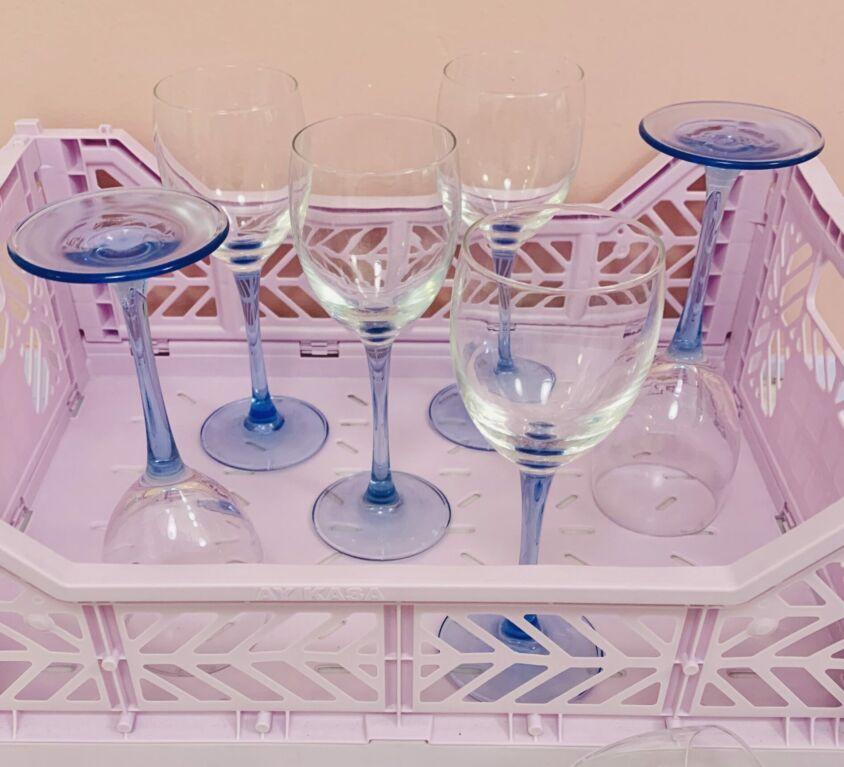 Blå vintage vinglas
