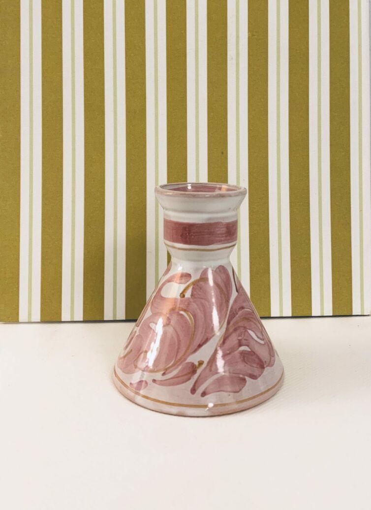 Håndmalet rosa lysestage