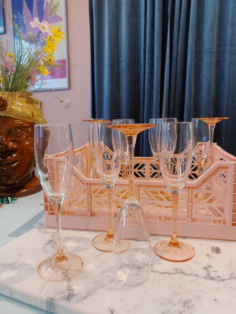 Franske champagneglas ~ Lyserød stilk
