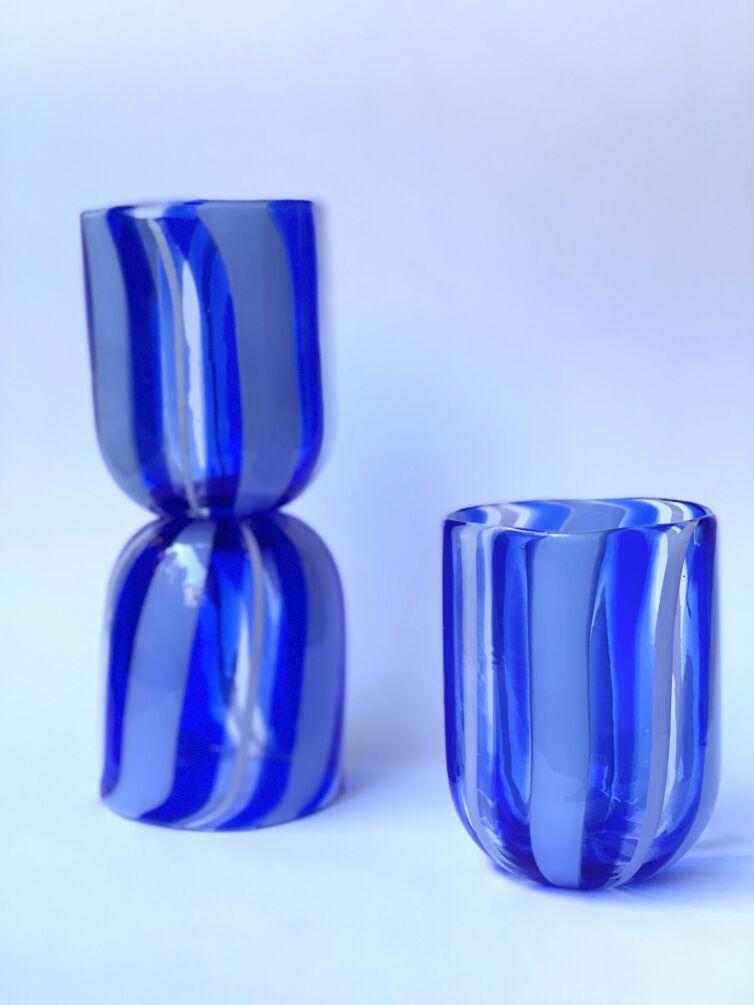 Stribet Murano glas ~ Blå