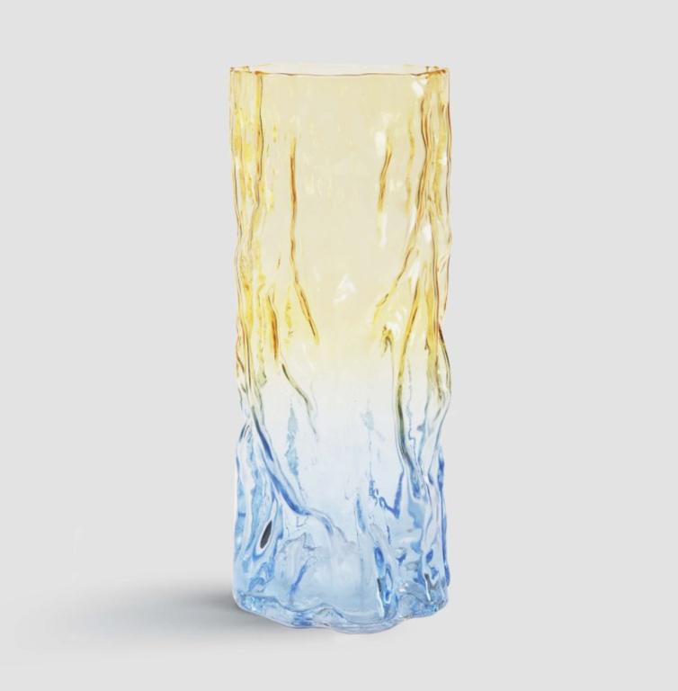 Trunk vase // Gul og blå